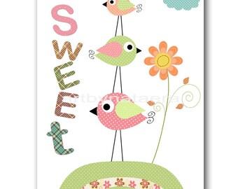 Printable Art Bird Nursery Art Kids Room Decor Instant Download Art Digital Download Kids Art Baby Girl Nursery Art Kids Wall Art 8x10 11X14