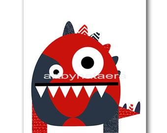 Monster Digital Download Print Instant Download Digital Baby Nursery Decor Baby Boy Nursery Decor Download Digital Art Download 8x10 11X14