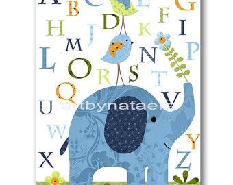 Alphabet Digital Elephant Nursery Printable Art Instant Download Digital Download Art Baby Room Decor Baby Boy Nursery Art Print 8x10 11X14