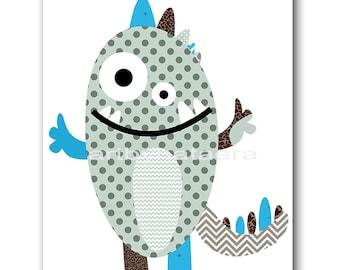 Monster Nursery Print Baby Nursery Art Monster Digital Download Art Printable Digital Download Print 8x10 11X14 INSTANT DOWNLOAD Wall Art
