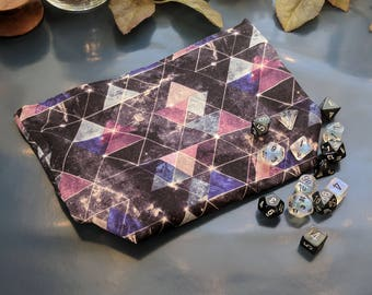 GALAXY || Make Up Bag || Dice Bag || Geometric Galaxy Print || Cosmetic Bag