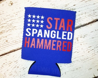 4th of July | Independence Day, Star Spangled Hammered, American Flag Can Cooler