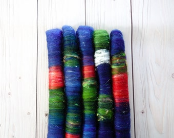 Rolags - {Doctor Who Christmas Special} - Spinning Fiber -  2 oz  - Classic - Organic Polwarth, silk, sparkle