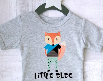 2ee192baa344 Little dude baby clothes with fox print. Baby Animal bodysuit. Baby Shower  Gift. Modern baby clothes.