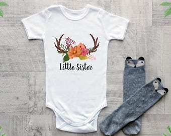Baby girl clothes, Little sister baby clothes, Boho baby clothes, Cute baby bodysuit with antler print, Baby shower gift