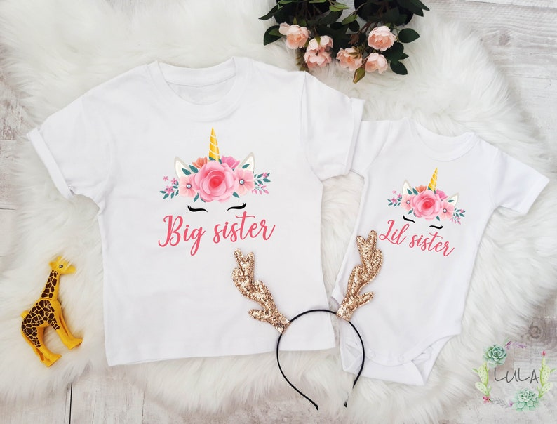 2da021f5850a8 Big Sister Little Sister Outfit. Unicorn sisters shirts. Matching Siblings  Outfit. Big Sis Lil Sis clothes. Photography Prop. Coming Home