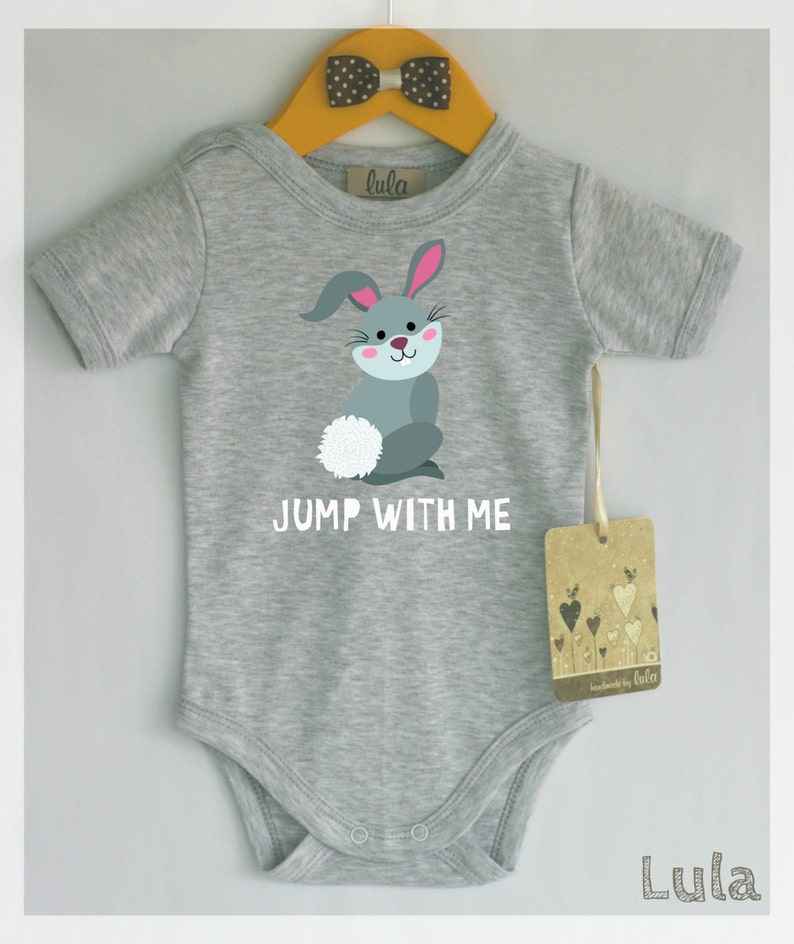 8c452d5f6754 Cute and funny baby clothes with bunny print. Jump with me