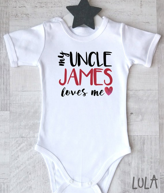 Shopagift Baby Personalised Any Name My Uncle Loves Me Sleepsuit Romper
