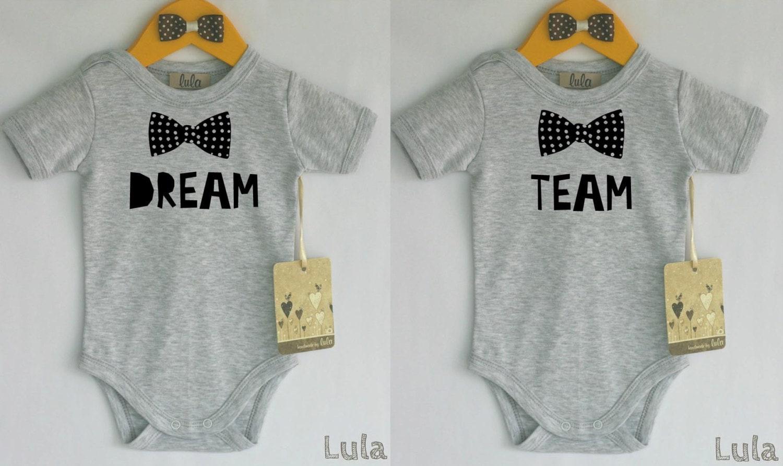 07598f37c82a Twins baby boy clothes. Dream team twins baby bodysuit. Baby | Etsy