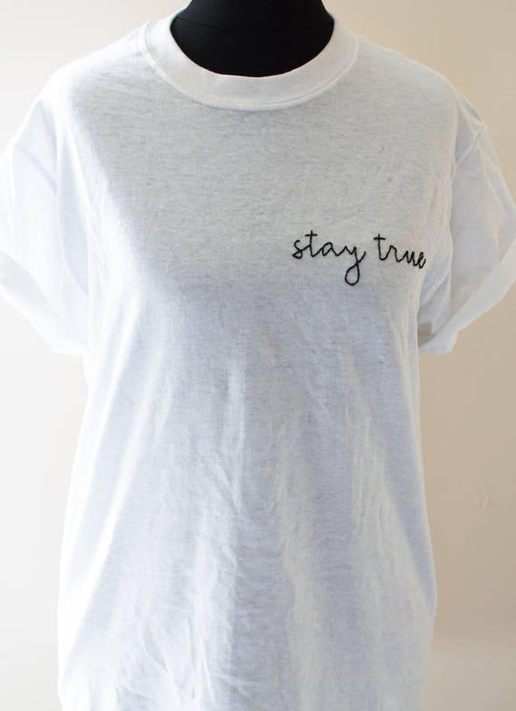 Verdadera mano bordado camiseta Tumblr te regalo hecho a  6366145f10428