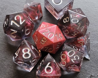 Blood and Shadow 9 Piece Sharp Edge Dice Set Including Crystal D4 and Extra D20