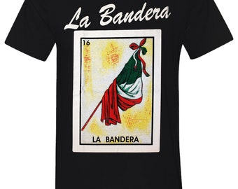 8049403605 La Bandera Loteria Mexican Bingo T-Shirt Novelty Funny Family Tee Black New