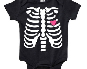 aecbaf2bb Skeleton Rib Cage Baby Clothes Infant Bodysuit Jumper Shower Gift cute Fun  Cool Mom Christmas Halloween Costume Funny Hipster Pregnant Cute