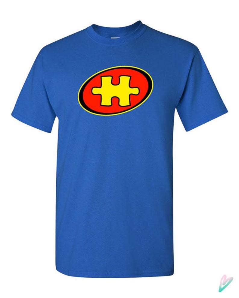 Capitán autismo Super héroe camiseta camiseta camiseta Puzzle  6452ece3c7387