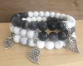 Two-Toned Beaded Stone Bracelet Set