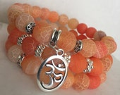 Orange Crackled Stone Bracelet Set