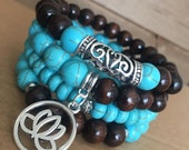 Turquoise and Brown Bead Bracelet Set