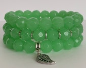 Green Beaded Charm Bracelet Set