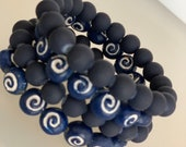 Blue and White Ethnic Bead Bracelet Set