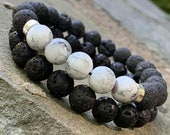 White Glass Bead and Lava Bead Bracelet Set