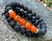 Orange Glass Bead And lava Bead Bracelet Set