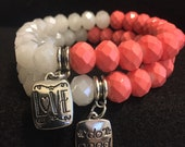 Coral and White Faceted Bead Bracelets Set
