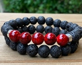 Red Stone Lava Bead Bracelet Set