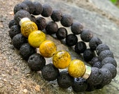 Yellow Glass Bead and lava Bead Bracelet Set