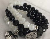 Black and White Faceted Bead Bracelet Set