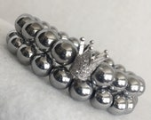 Silver Hematite Beaded Crown Bracelet Set