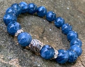Marble Glass Blue Beaded Bracelet