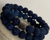 Blue Lava Bead Bracelet Set
