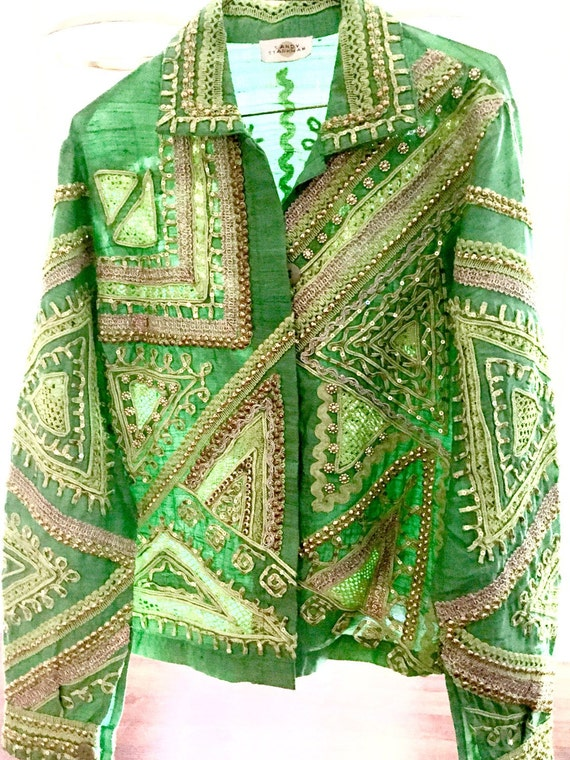 Vintage Indian Embroidery Jacket / Indian Silk Jac