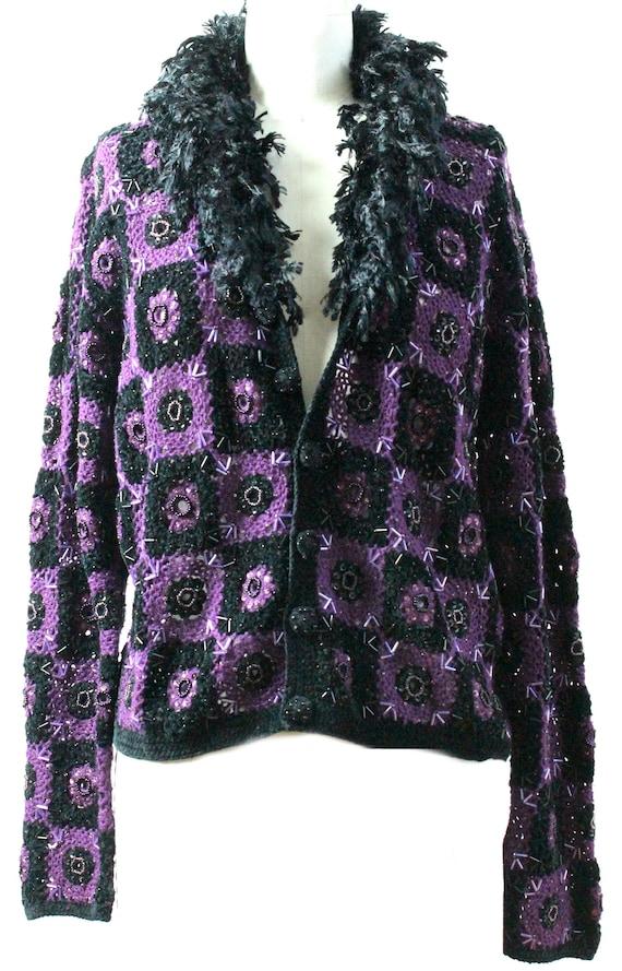 Purple Crochet Sweater/ Vintage Crochet Sweater /