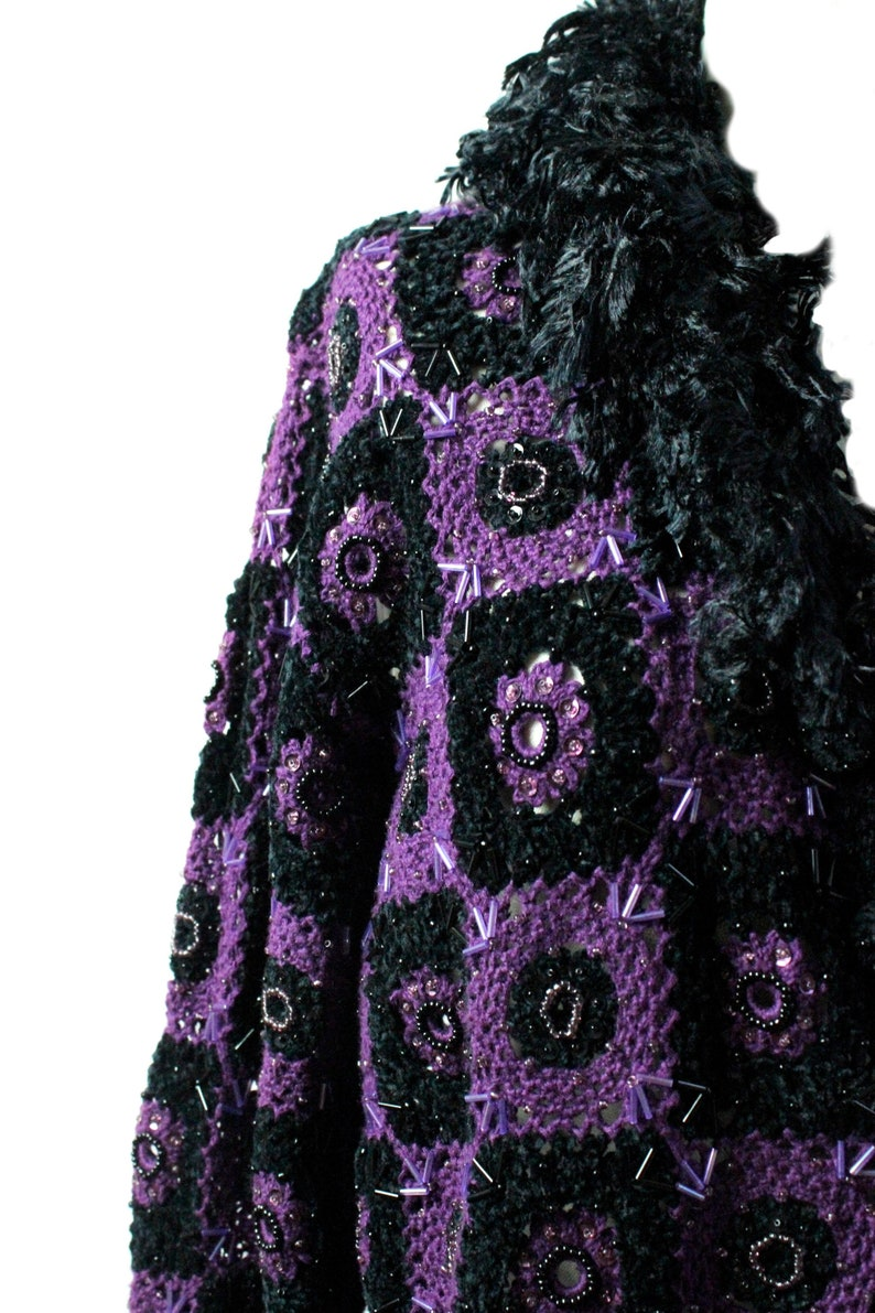 Purple Crochet Sweater Vintage Crochet Sweater  embroidered Sweater  Open Sweater Jacket  Large
