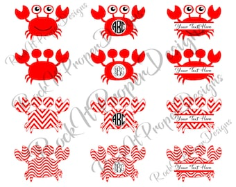 Crab Summer Beach Monogram DIGITAL files - scrapbooking, card making, decals, stickers, heat transfer vinyl & more! SVG and PNG Files.