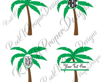 Palm Tree Summer Beach Monogram DIGITAL files - scrapbooking, card making, decals, stickers, heat transfer vinyl & more! SVG and PNG Files.