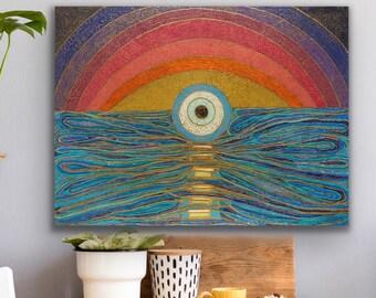 Evil Eye Wall Art, 3rd Eye Painting, Lucky Eye Art Print, Evil Eye Protection Wall Hanging, Boho Sunset Abstract Art, Wellness Home Decor