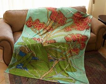 Art Blanket, Plush Fleece, Under Water Orchid Painting, Flower Blanket, Art Throw, Aqua, Wedding Gift, Art Deco Blanket, Floral Blanket, Mom