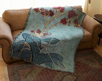 Art Quilt, Oriental Orchid, Art Blanket, Woven, Art Throw, Art Deco Blanket, Wedding Gift, Art Deco Blanket, Cotton Blanket, Mom, Flower