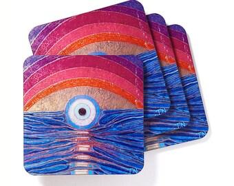 Modern Art Coasters | Drink Coasters | Art Coasters | Art Deco | Art | Square Coasters| Chakra Coasters | Third Eye Coasters | Coasters