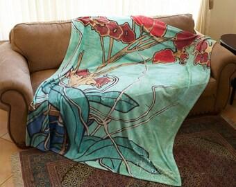 Art Blanket, Plush Fleece, Oriental Orchid Painting, Flower Blanket, Art Throw, Aqua, Wedding Gift, Art Deco Blanket, Floral Blanket, Mom