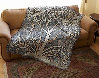 Art Quilt, Mirror Orchid, Art Blanket, Woven, Art Throw, Art Deco Blanket, Wedding Gift, Art Deco Blanket, Cotton Blanket, Mom, Flower