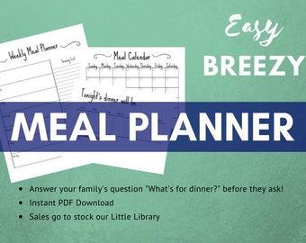 Meal Planner Printable, Meal Prep Printable, Planner Printable, Monthly Calendar, Monthly Planner, Weekly Planner, Grocery List, Shopping