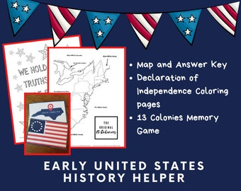 Thirteen Colonies, Map, Educational Printable, Early US History, Homeschool, Coloring Pages, 13 Colonies Handout, Memory Game, Bundle