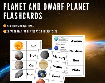Planet and Dwarf Planet Flashcards with Bonus Memory Game, Space Cards, Homeschool, Classroom, Instant Download, Space Printable