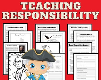 Responsibility Character Curriculum 4 Lesson Plans Coloring Pages Activities Crafts Includes Science and History Printables Instant Download