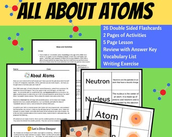 Atom Lesson Plans Flashcards Science Printable Periodic Table Handout Instant Download