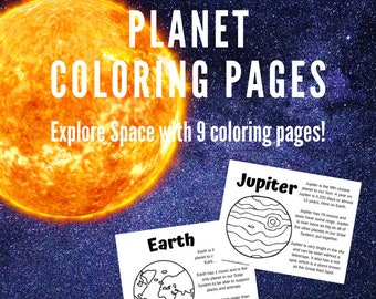 Planet Coloring Pages and Fact Sheets - Pluto Included - Homeschool, Classroom, Space Exploration, Planets, Space Coloring Page, 9 Total