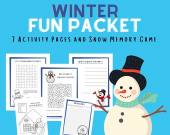 Winter Printables, Holiday Games, Word Search, Coloring Pages, Color By Number, Snowman Memory Game, Homeschool, Instant Download